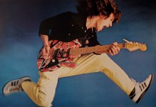 Eddie Van Halen, in my studio, working hard for this portrait. And wearing my tennis shoes.