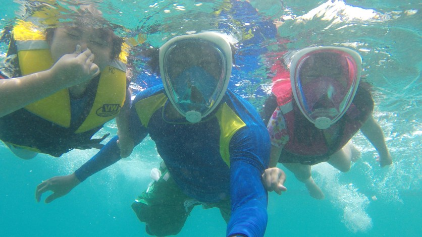 snorkelling using Tribord face mask