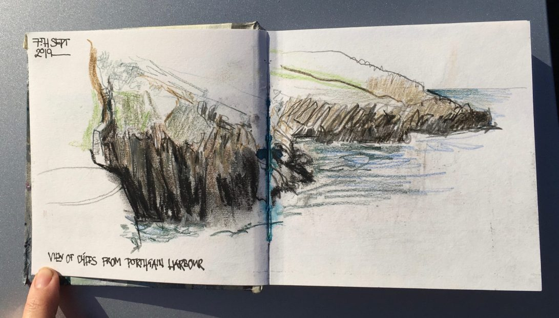 Pembrokeshire Coastal Path Drawings mixed media Liz Ackerley Art
