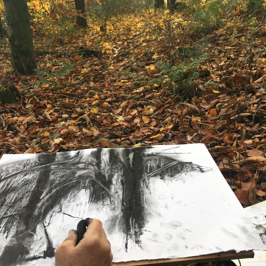 Mark making using charcoal