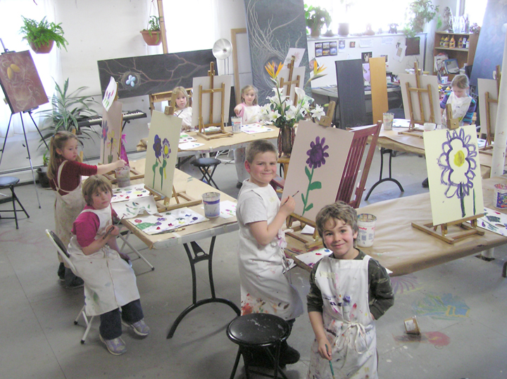 Children's painting class in my studio