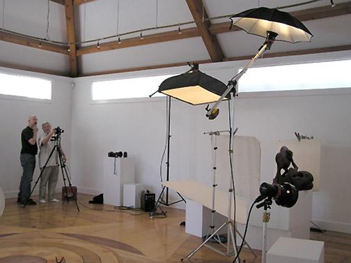Setting up to shoot individual artworks.
