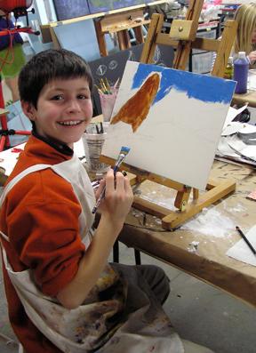 Wyatt beginning his Barred Owl Landscape Painting