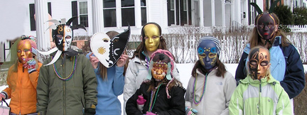 Mardi Gras on parade in New England snow.