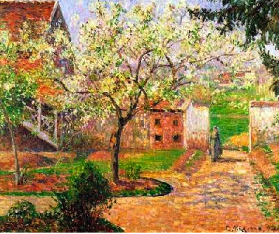 Pissaro Blossoming Plum Trees at Eragny