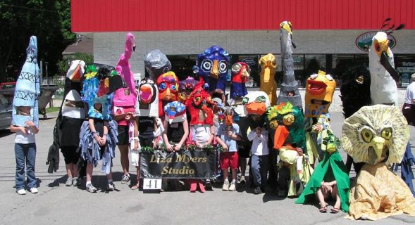 Bird Costumes for the Fourth of July Parade in Brandon, Vermont