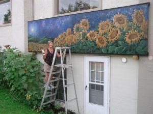 Sunflower Starry Skies ©lizamyers, acrylic on board 4' x 16'