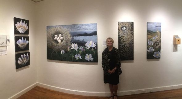 After months of preparing against great odds  the reward was on the wall. Here are six of my seven paintings in the exhibit ion entitled Flock: Birds on the Brink