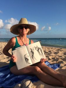 I had my own wahine moments on the beach, always with my sketchbook and pens at hand.