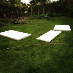 New canvases in the prepping process. And a garden waiting to be planted. It's been too cold and wet in Santa Fe!