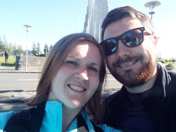 This was out attempt at selfie-ing infront of the HALLGRÍMSKIRKJA CHURCH. Can you see the church behind our faces? no. Some woman nearby lost patience in waiting for us to take a decent photo and took one for us. Please see our main picture to see how that turned out.