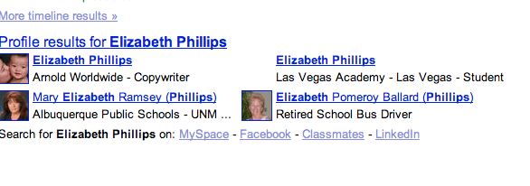 Profiles when you search for Elizabeth Phillips