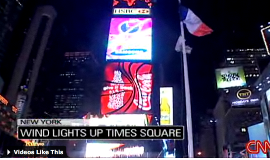 Wind Powers Billboards in Time Square