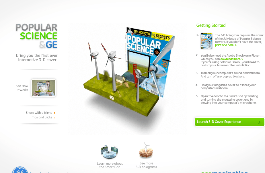 Augmented Reality project for Popular Science & GE