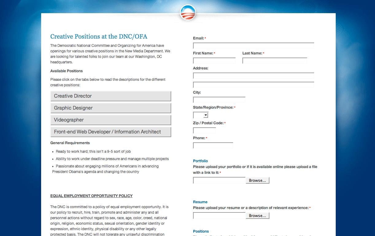 President Obama is hiring creatives