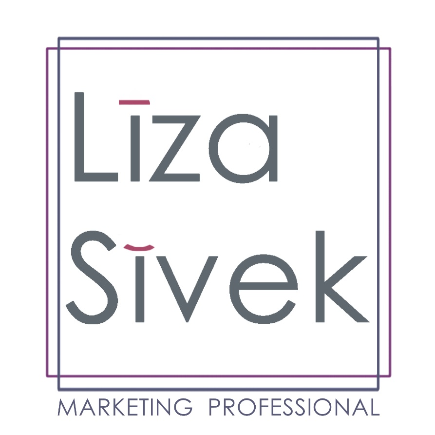 "Liza Sivek with phonetics symbols for long ""i"" and short ""i"" vowel sounds over i in Liza (long) and i in Sivek (short). Gray text i a purple and gray double square with ""marketing professional"" underneath"