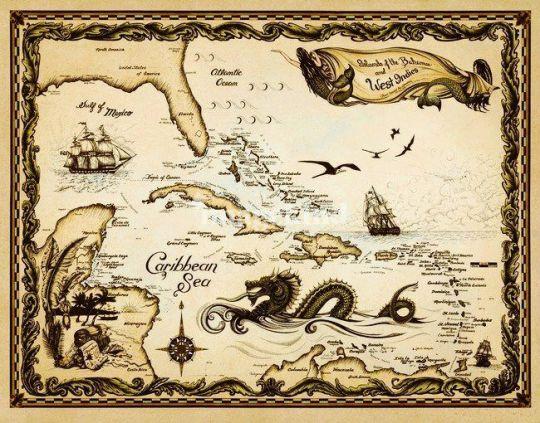 Pirate Map Caribbean Gulf Belize