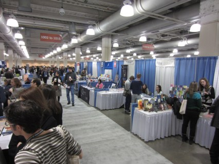 Just one row of book fair booths.