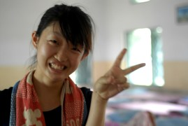 Mina, a volunteer from Japan.