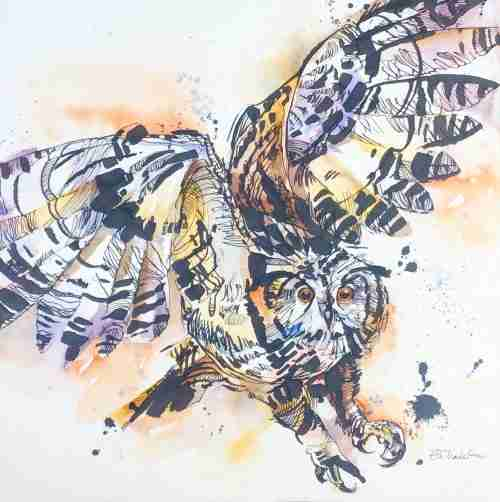 Siberian eagle owl - watercolour painting