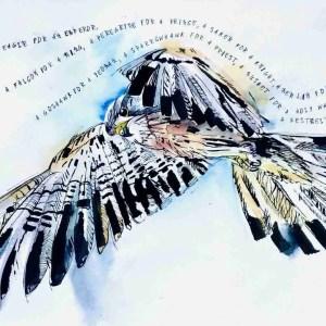 Flying kestrel with poem