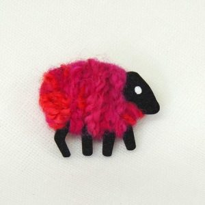 LizzyC|Sheep|Brooch|Bella_pink_red