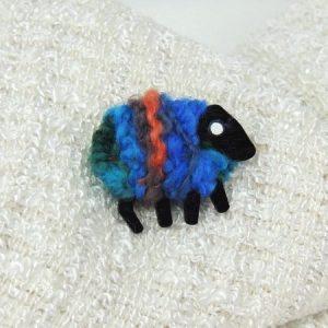LizzyC|Sheep|Brooch|Biba|blue_orange_teal