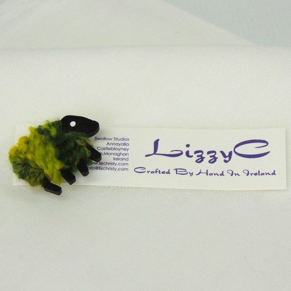 LizzyC|Sheep|Greengrass|Brooch|with|displaycard