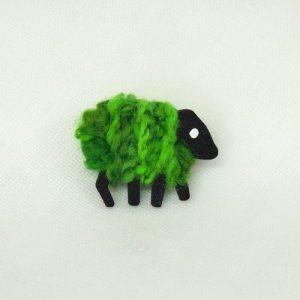 front patrica brooch green sheep 