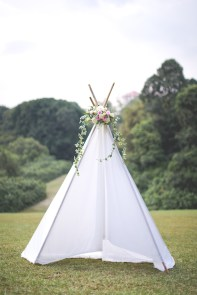 Picnic Prewedding Photoshoot, Picnic Prewedding Singapore, Teepee, Tent Flowers Singapore