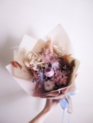 Everlasting Preserved Dried Bouquet in Pastel Pink and Blue