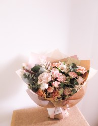 Wrapped blush bouquet large- lizflorals