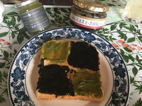 Black sesame & matcha jam toast