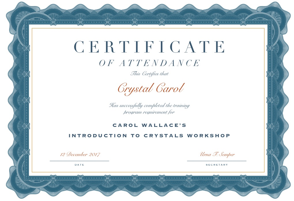 Carol Wallace's 'Introduction to Crystals' Workshop