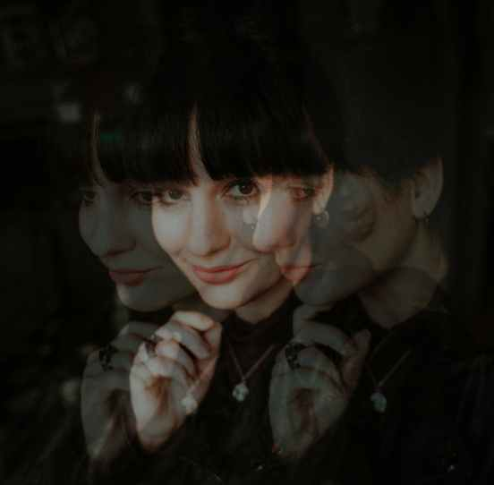portrait of a woman with double exposure