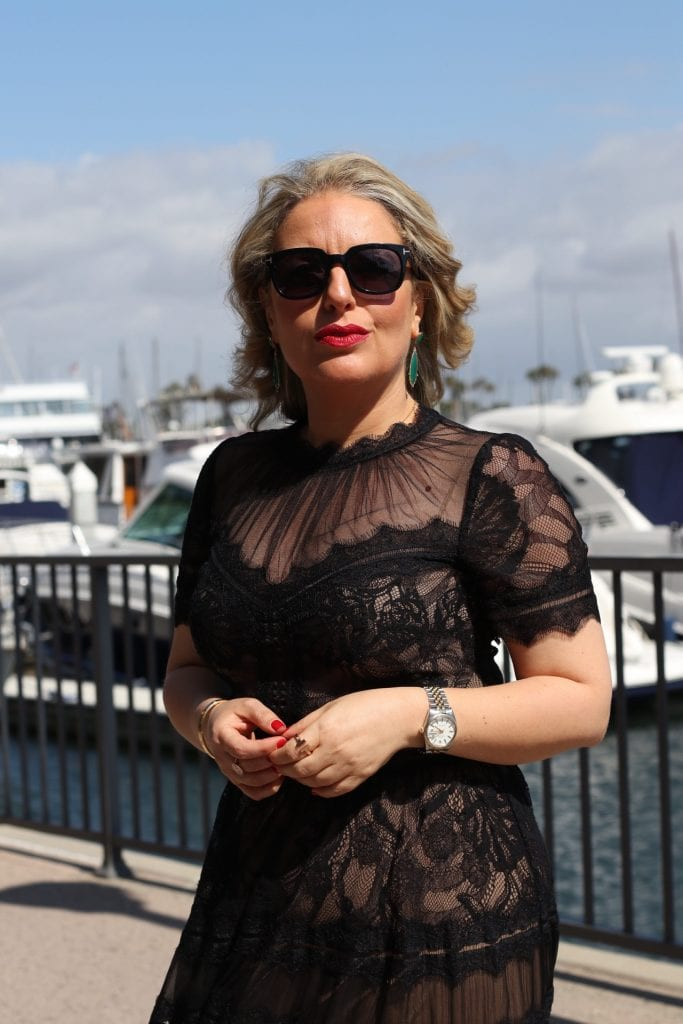 Tadashi gown by Liz in Los Angeles, Los Angeles Lifestyle Blogger | What to Wear to a Black Tie Wedding by popular Los Angeles fashion blog, Liz in Los Angeles: image of a woman wearing a black lace Tadashi Shoji dress.