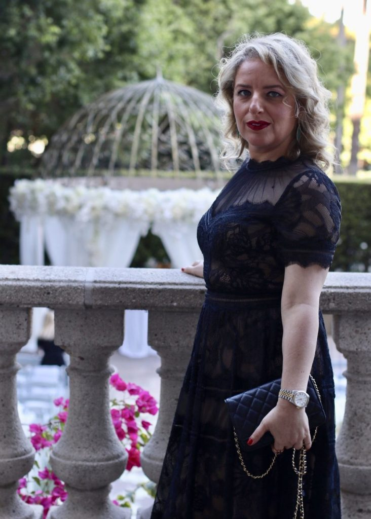 Tadashi gown review  by Liz in Los Angeles, Los Angeles Lifestyle Blogger | What to Wear to a Black Tie Wedding by popular Los Angeles fashion blog, Liz in Los Angeles: image of a woman wearing a black lace Tadashi Shoji dress.