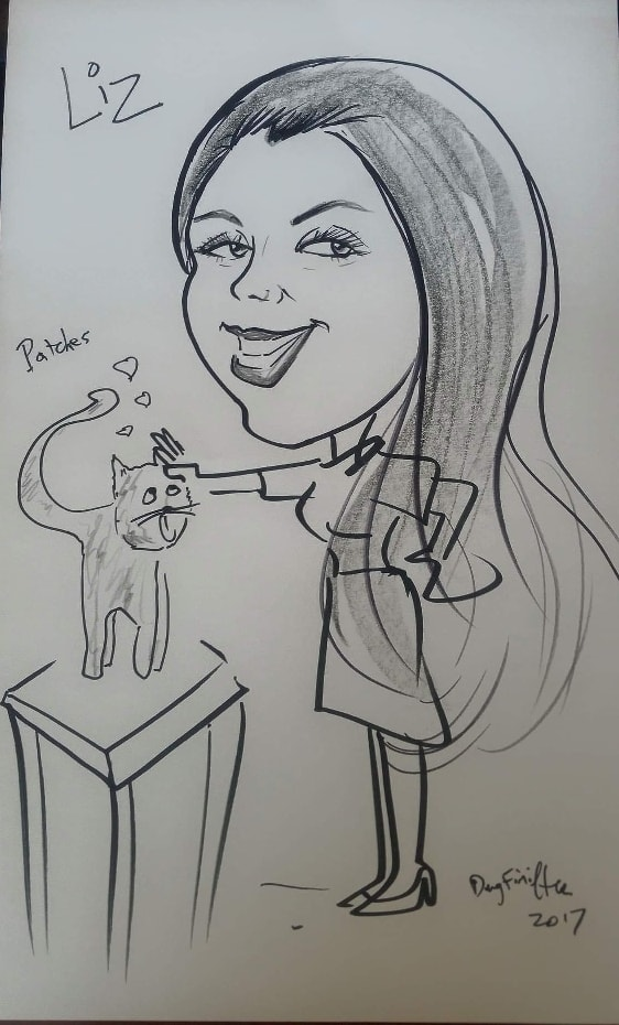 Caricature of Liz Kay and Patches