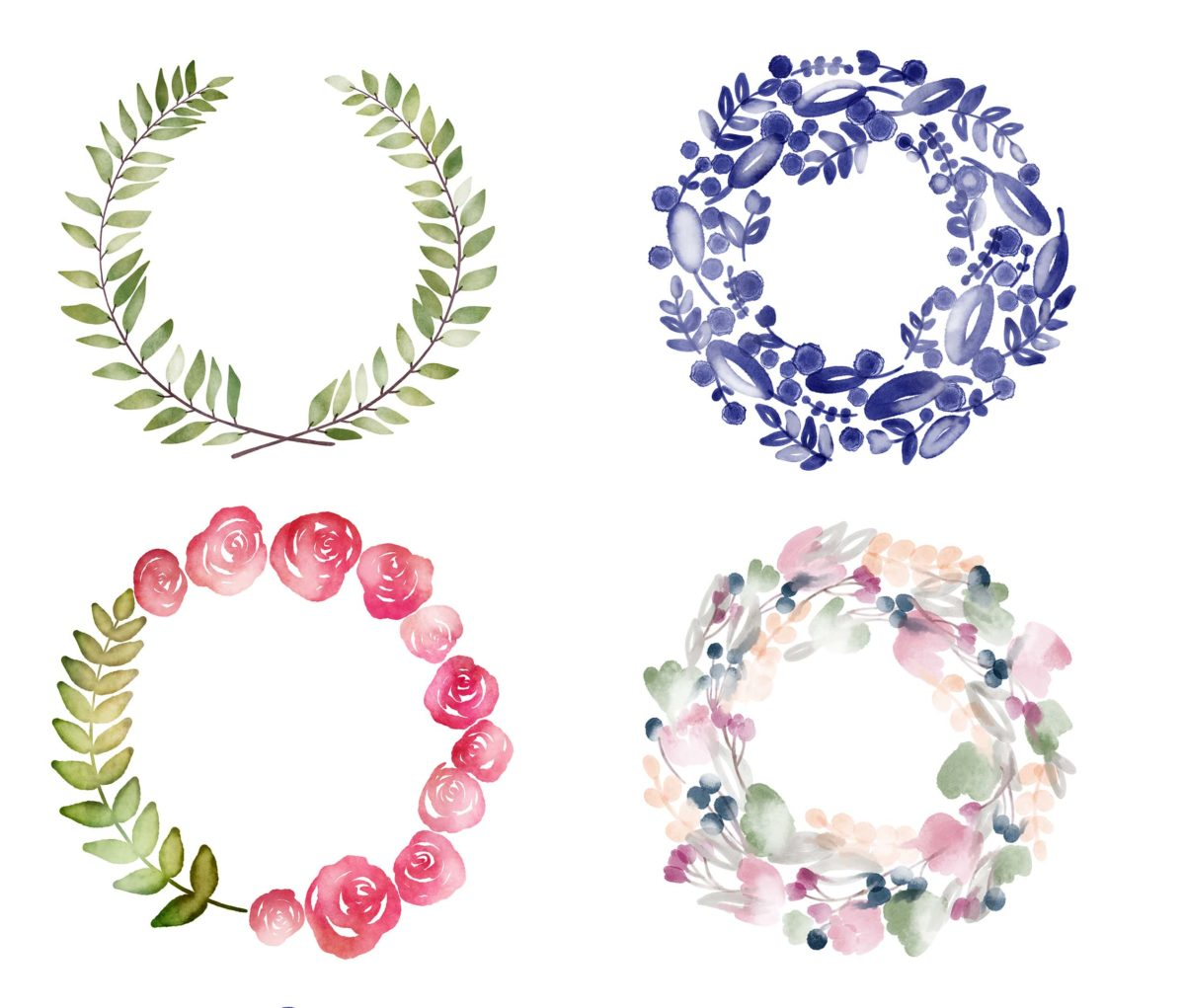 Free Watercolor Wreath Digital Planner Stickers