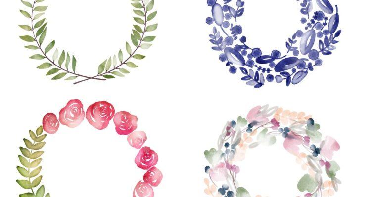 Free Watercolor Wreath Digital Planner Stickers