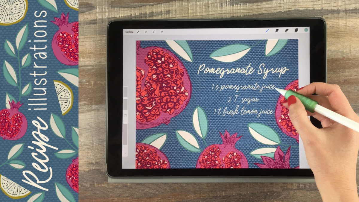 Recipe Illustrations on Your iPad in Procreate + 26 Free Procreate Brushes