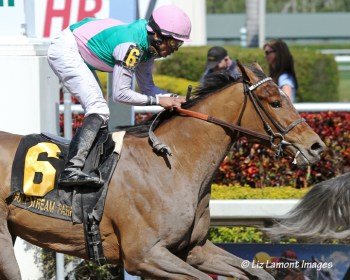 Emollient (KY) with jockey Jose Lezcano in the Gulfstream Oaks G2