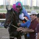 Itsmyluckyday (KY), Elvis Trujillo, Alfonso Alvarado after Itsmyluckyday (KY) wins the Holy Bull Stakes (GIII)