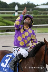 Jockey Jeffrey Sanchez thanks God for his win in the Florida Stallion Stakes In Reality Division IMG_BPY8144B