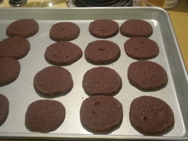 Chocolate Cornmeal Cookies out of the oven