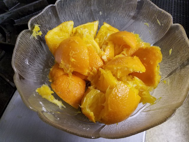 Chunks of oranges after being boiled to soften
