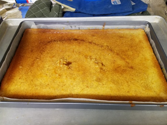 Syrup Soaked Semolina Cake, left to cool