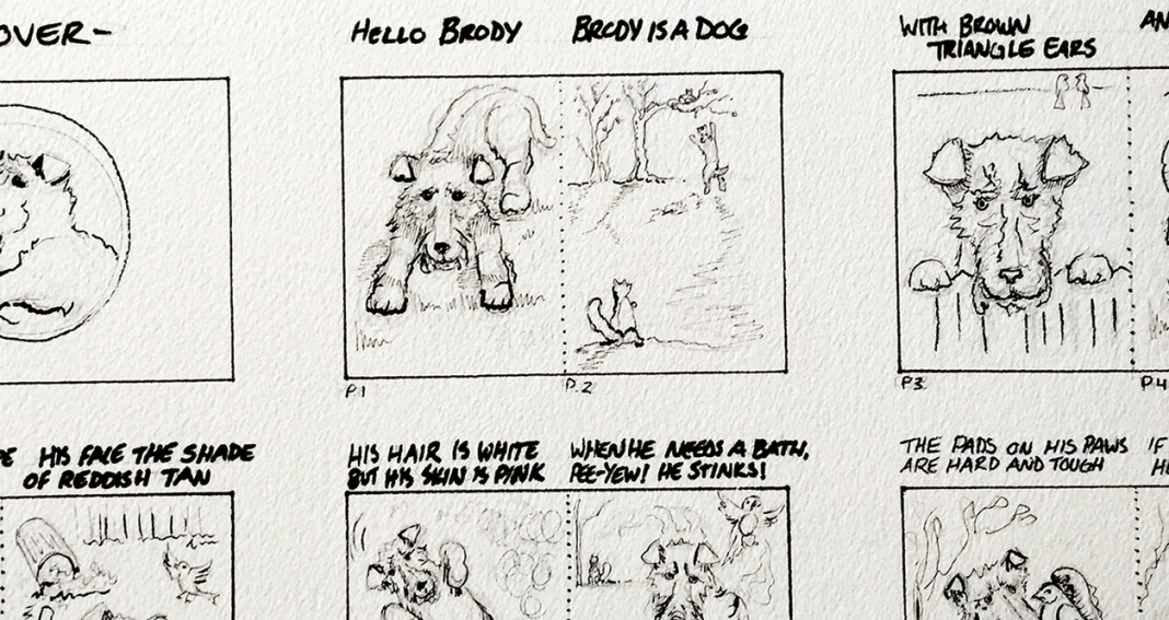 black and white comic sketch with dogs