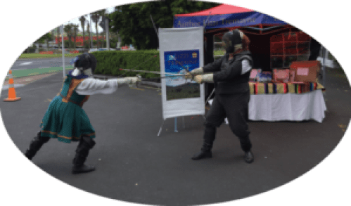 Fencing at Book Faire