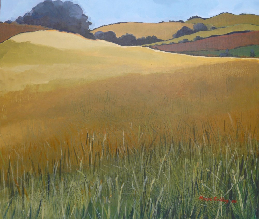 Wheat field. Acrylic on canvas 61x61x4cms 2008©   For sale. Enquiries to lizmg@bigpond.net.au